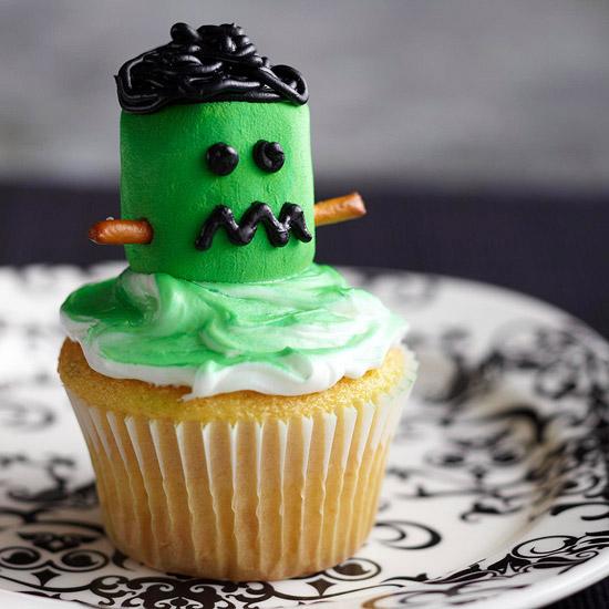 Marshmallow Frankenstein Cupcakes. bhg.com & Halloween Cupcake Ideas: Spooky Style - PrivateIslandParty.com Blog