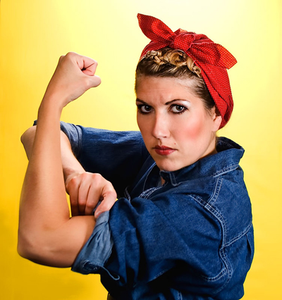 semi mohawk hairstyle : Rosie The Riveter Style