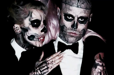 "Even Gaga rocked skeleton face paint in her video ""Born This Way"""